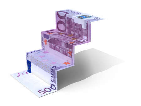 € 500 banknote folded as steps on white background, 3d illustration Imagens