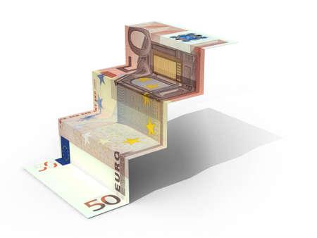 € 50 banknote folded as steps on white background, 3d illustration