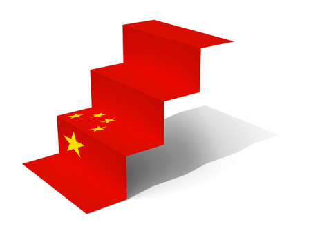 chineese: China flag folded as steps on white background, 3d illustration