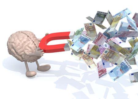 menselijk brein met armen, benen en de magneet op handen, vangen veel eurobankbiljetten, 3d illustratie