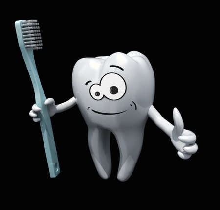 3d cartoon tooth holding a toothbrush isolate on black background photo