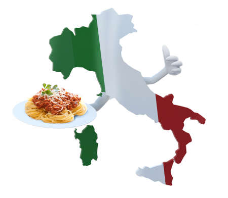 mediterranean diet: Italy map cartoon with arms and spaghetti on dish Stock Photo