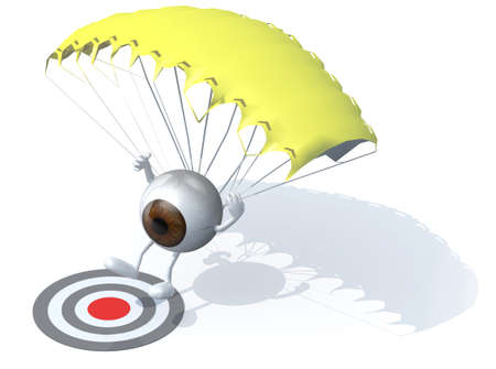 aircraft landing: eyeball that is landing with parachute on a target, 3d illustration
