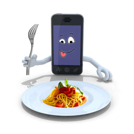 smartphone with hands, fork on hand and face cartoon in front of a spaghetti plate, 3d illustration