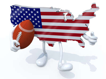 stipes: american map with arms, legs and rugby ball on hand, 3d illustration
