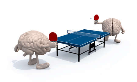 two human brains with arms and legs that playing to table tennis, 3d illustration illustration