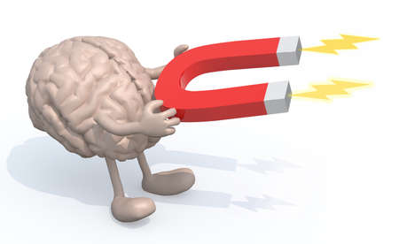 human brain with arms, legs and magnet on hands, 3d illustration Stock Photo