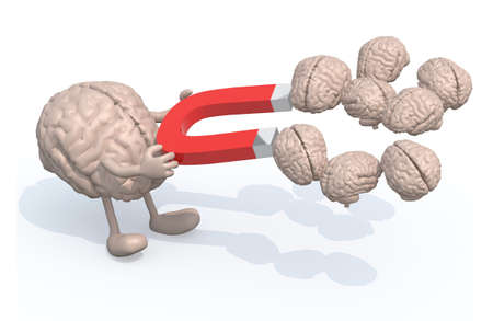 magnetic: human brain with arms, legs and magnet on hands, catch many other brains, 3d illustration
