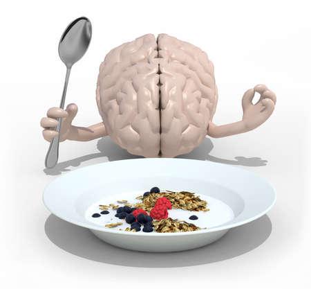 avena en hojuelas: cerebro humano con las manos y tenedor delante de un plato cerealsi, ilustración 3d