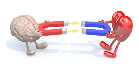 magnetize: human brain and heart with arms, legs and magnet on hands, 3d illustration