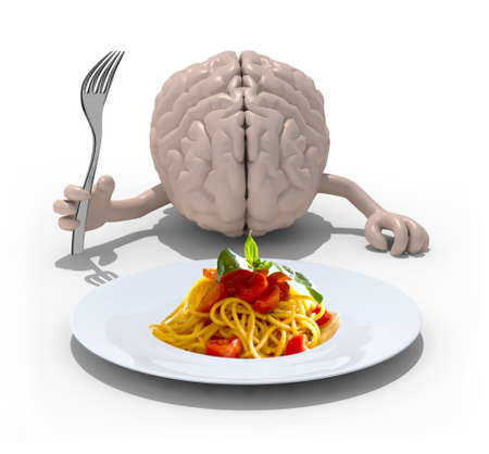 human brain with hands and fork in front of a spaghetti dish, 3d illustration illustration