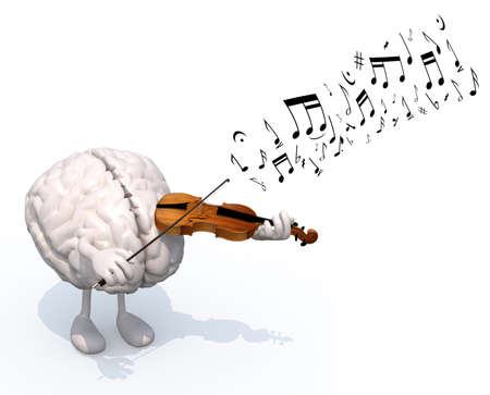 human brain with arms and legs who plays the violin, 3d illustration illustration