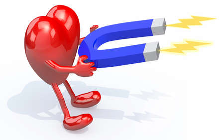 polarity: heart with arms, legs and magnet on hands, the love attraction concepts Stock Photo
