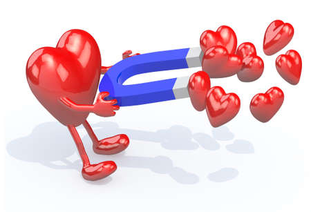 magnetize: heart with arms, legs and magnet on hands, 3d illustration Stock Photo