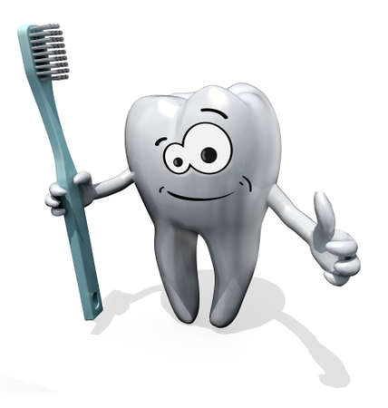 3d cartoon tooth holding a toothbrush isolate on white background Stock Photo