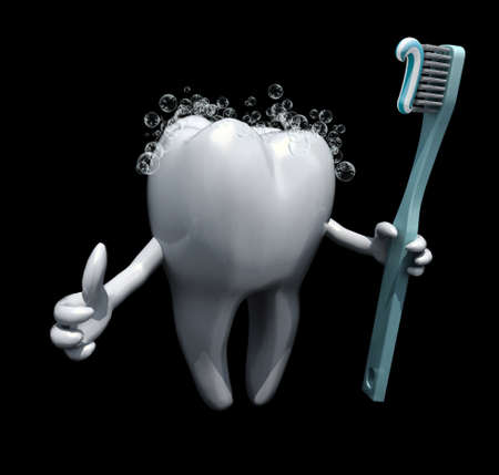3d cartoon tooth holding a toothbrush isolate on black background