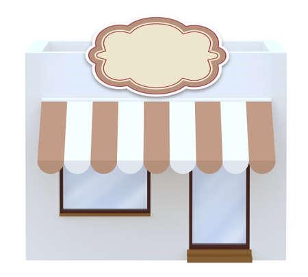buy local: storefront 3d illustration isolated on white background Stock Photo