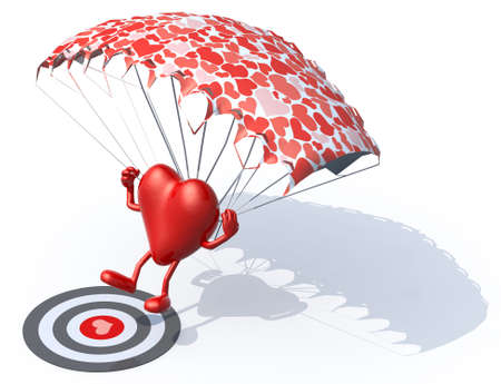 heart that is landing with parachute on a target, 3d illustration illustration