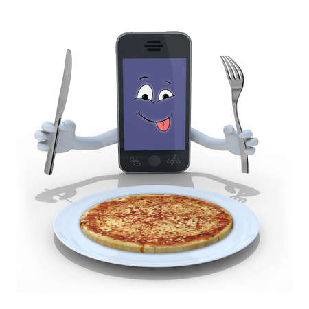 menu land: smartphone with hands, utensils on hand and face cartoon in front of a pizza, 3d illustration