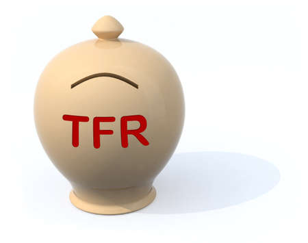severance: sad piggy bank with the words tfr (severance pay), 3d illustration Stock Photo