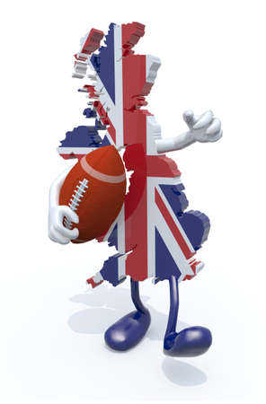 teamsport: 3d map of united kingdom colored with flag, with arms, legs and rugby ball on hand