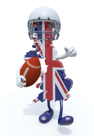teamsport: 3d map of united kingdom colored with flag, with arms, legs, rugby ball on hand and helmet Stock Photo