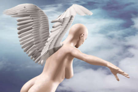 naked female body: naked beauty woman with wings fly on sky background, 3d illustration