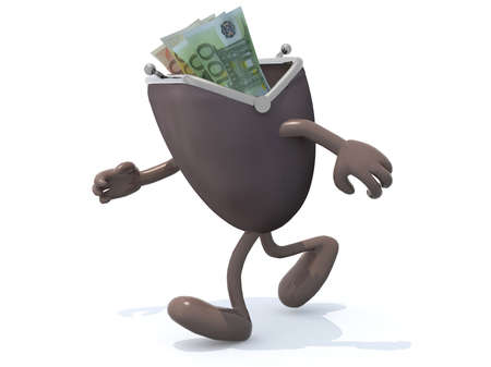 go inside: some euro banknotes inside wallet with arms and legs go away, 3d illustration