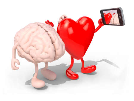 head phones: human brain and heart with arms and legs take a self portrait with her smart phone, 3d illustration