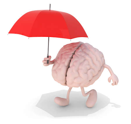 human brain with arms, legs and red umbrella on hand, 3d illustration illustration
