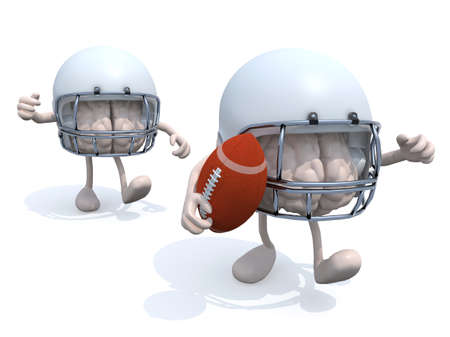 american downloads: two human brains with arms, legs, helmets and rugby ball, 3d illustration Stock Photo