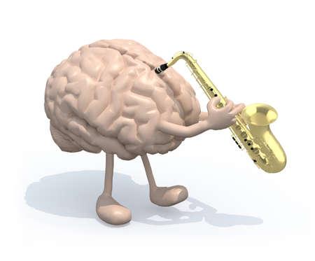 Prodigy: Mózg człowieka z ramiona i nogi, które grają na saksofonie, ilustracji 3d