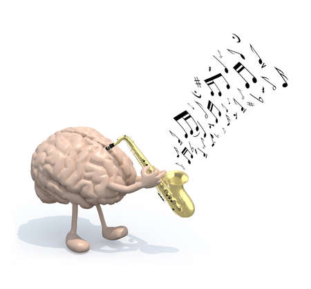 prodigy: human brain with arms and legs who play saxophone, 3d illustration Stock Photo