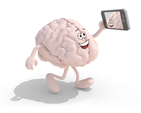 cartoon present: human brain cartoon with arms and legs take a self portrait with her smart phone, 3d illustration