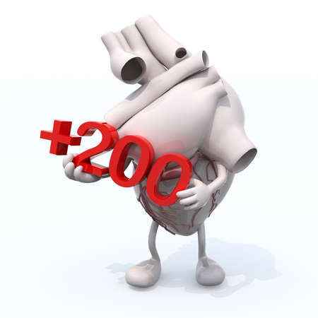 quantity: human heart with arms, legs and number +200, cholesterol concepts