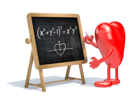 heart with his arms and legs in front of the blackboard writing a mathematical formula Stock Photo