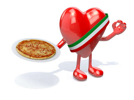 margherita: heart with arms, legs and dish of pizza on hand, 3d illustration Stock Photo