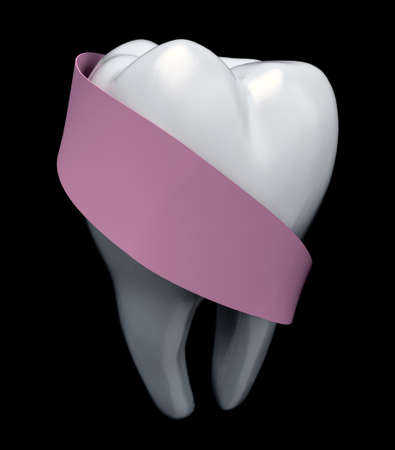 molar: molar tooth protected by pink ribbon isolated on black, 3d illustration Stock Photo