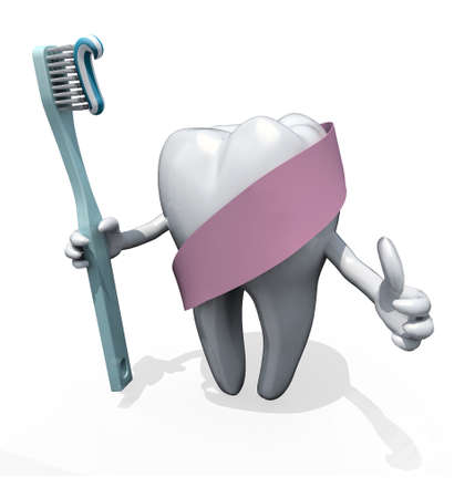 molar: molar tooth with arms and toothbrush on hand, protected by pink ribbon, isolated on white 3d illustration