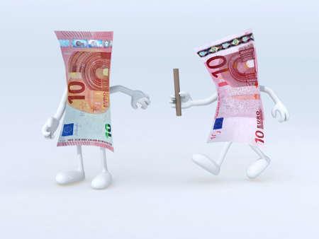 billets euro: relais entre les anciens et les nouveaux billets de 10 euros, illustration 3d Banque d'images