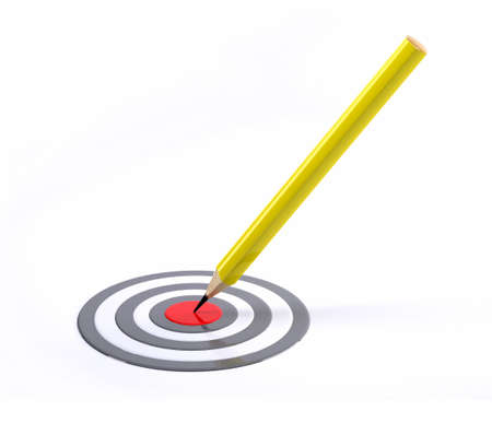 red pencil: Pencil pointed to center of target, 3d illustration