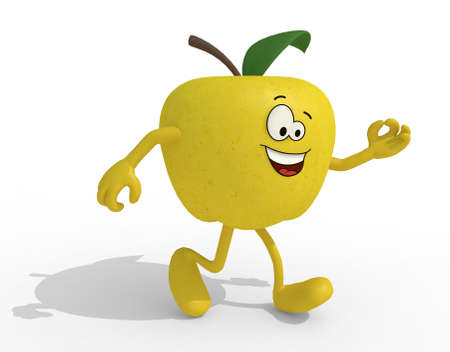 yellow apple: yellow apple with arms, legs and face cartoon, 3d illustration