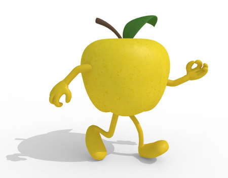 yellow apple: yellow apple with arms and legs, 3d illustration