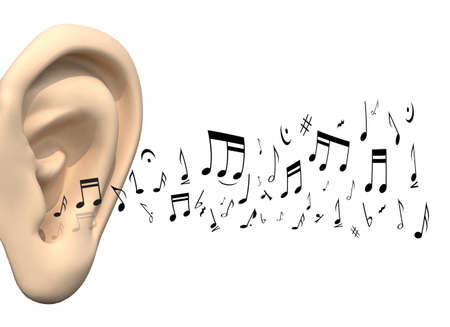 music notation: big ear and music notes coming, 3d illustration