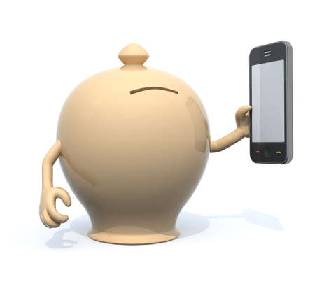 money box with arms and smartphone on hand, 3d illustration