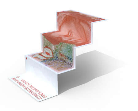 swiss franc note: 10 swiss franc banknote folded as steps on white background, 3d illustration