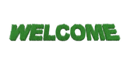 hessian: written welcome made with grass, 3d illustration