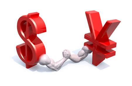 business metaphore: dollar and yen symbol currency make arm wrestling, 3d illustration