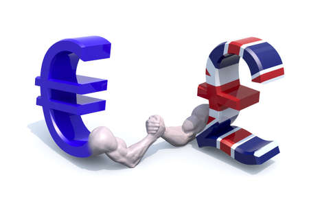 business metaphore: euro and sterling symbol currency make arm wrestling, 3d illustration Stock Photo