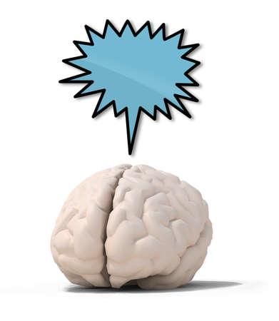 menschliche Gehirn mit blauen Rede Ballon, isoliert auf weiß 3D Darstellung